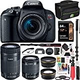 Canon EOS Rebel T7i DSLR Digital SLR Camera + EF-S 18-55mm is STM + EF-S 55-250mm is STM 2 Lens Kit + 0.43x Wide Angle Lens + 2.2X Telephoto Lens + Deco Gear Case + 64GB Memory Card Accessory Bundle