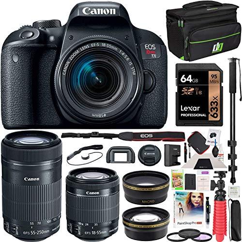 Canon EOS Rebel T7i DSLR Digital SLR Camera + EF-S 18-55mm is STM + EF-S 55-250mm is STM 2 Lens