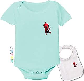 Deadpool Climbing Onesie -Marvel Dead-Pool Cute Baby Bodysuit Onesie & bib Set
