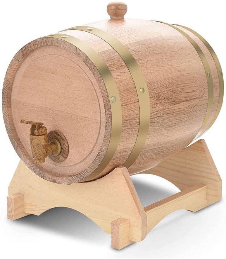 Roble Barrel 5L, dispensador de barril de whisky, barril de vino de envejecimiento de roble de madera con soporte de madera de grifo, espíritu de cerveza de almacenamiento whisky ron puerto bourbon te