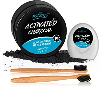 POP MODERN.C Activated Charcoal Toothpaste Teeth Whitening Powder with 2 Bristles Bamboo Toothbrushes & Teeth Floss (Teeth Powder -Mint2)