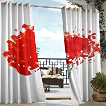 Andrea Sam Outdoor Blackout Curtains Watercolor Splash of red Flowers,W72 xL108 for Patio Light Block Heat Out Water Proof Drape