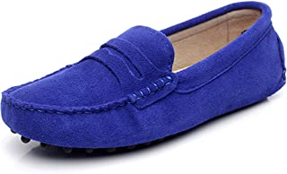 rismart Womens Classic Suede Driving Loafers Shoes Soft Leather Moccasin Slippers