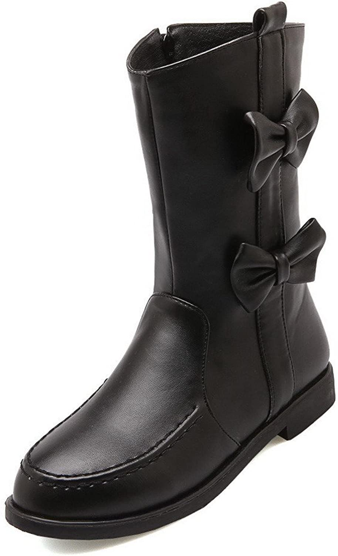 WeiPoot Women's Low-top Solid Zipper Round Closed Toe Low Heels Boots
