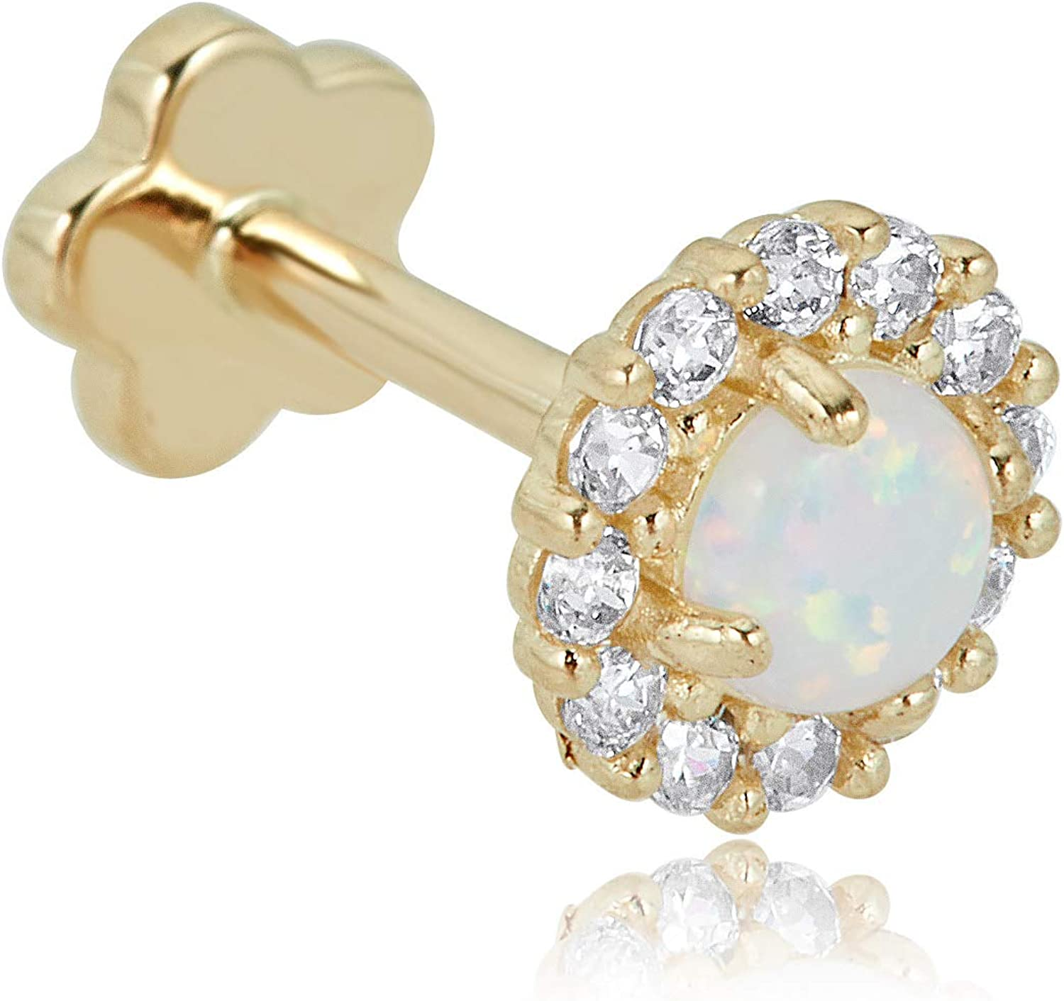 AVORA 14K Yellow Gold Large special price Long-awaited Created Opal CZ Diamond Halo and Simulated