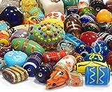 Glasperlen Mix Indian Posten Glas Perlen Beads Silberfolie Lampwork Rund Oval Bunt Perlenset...