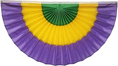 """product image for Independence Bunting Mardi Gras Bunting American Made Nylon Mardi Gras Bunting Flags! Fully Sewn Mardi Gras Decorations Makes Your Home The Center of The Party. (24"""" x 48"""")"""