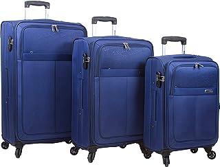 Dejuno Tuscany 3-Piece Lightweight Spinner Luggage Set-Navy