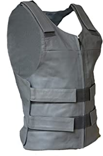 IKleather Mens Bullet Proof style Leather Motorcycle Vest for bikers Club Tactical Vest (L, Silver)