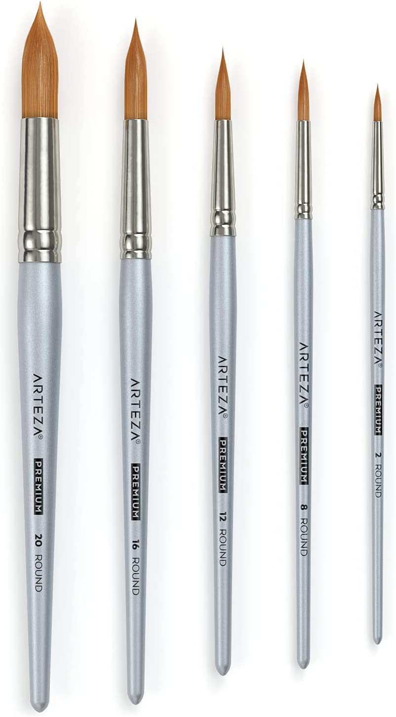Inexpensive Arteza Watercolor Paint Brushes Ranking TOP8  Synthetic Set of 5 Round