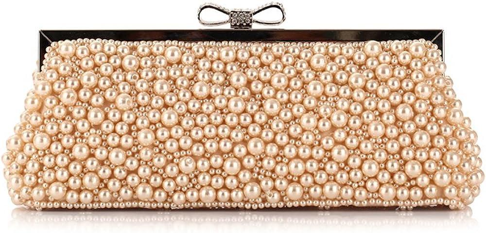 Womens Gorgeous Faux Pearl Beaded Rhinestone Evening Clutch Purse with Chain Wedding Purse Bridal Party Handbag