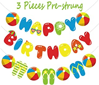 Junucubo Beach Ball Birthday Banner Funny Pool Party Decoration Beach Ball Garland Banner Summer Banner Party Supplies Colorful Happy Birthday Beach Ball Banner Hanging Decor Garland for Birthday Party Decor, Pool Beach Party Theme Party ,Barbecue Party