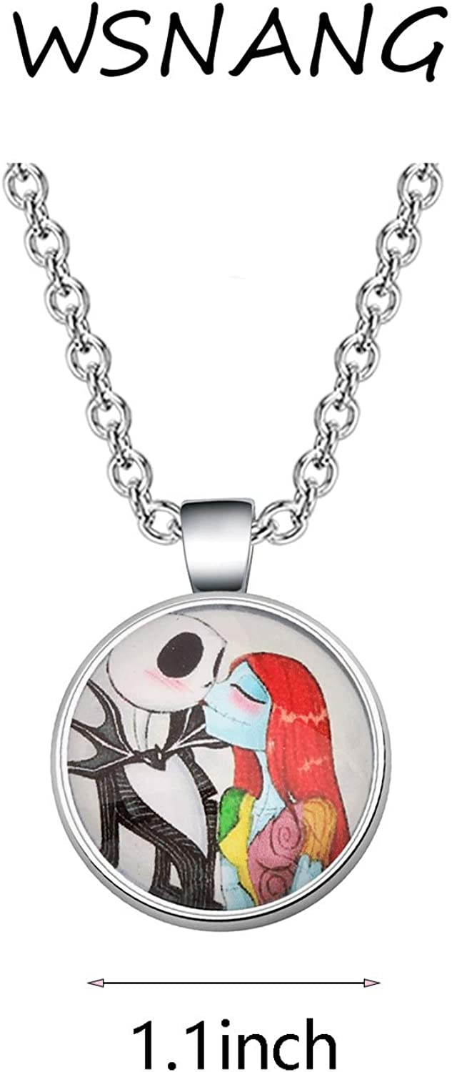 WSNANG Jack and Sally Nightmare Before Christmas Necklace Halloween Jewelry Romantic Gift