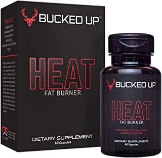 Bucked Up Heat - Mens Thermogenic Fat Burner - Metabolism Accelerator, Improves Focus, Hormone Support & Energy Booster - All Natural - 60 Veggie Diet Pills