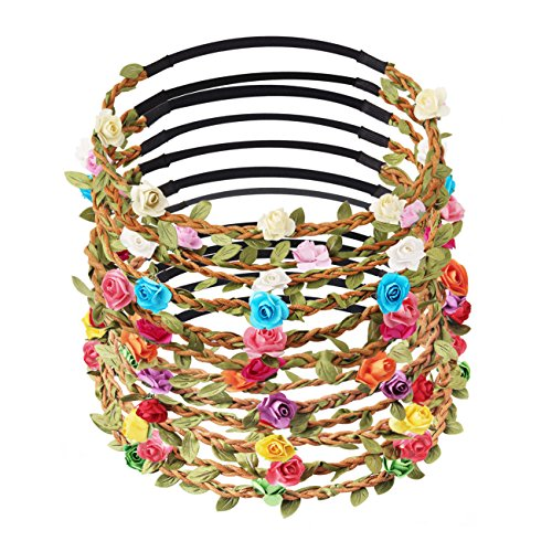 Candygirl Fashion 12 Pieces Flower Garland Headband Bohemia Floral Crown for Women Girl Hair Accessories for Wedding Festival Party Multi Color