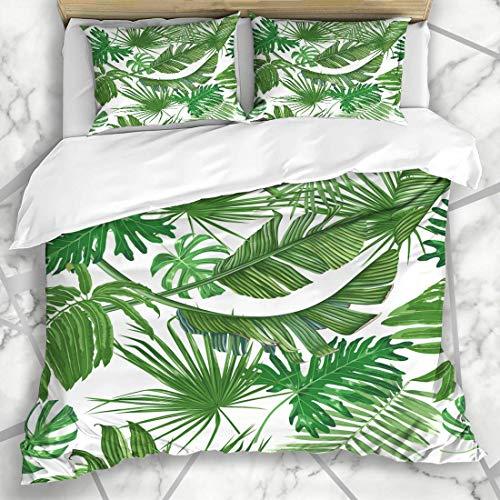 7788 Juego de funda de edredón de microfibra con diseño de hojas de palma, hojas de selva, hoja de la selva, diseño botánico, playa, bosque, Aloha, juego de tres piezas, varios patrones 135 x 200