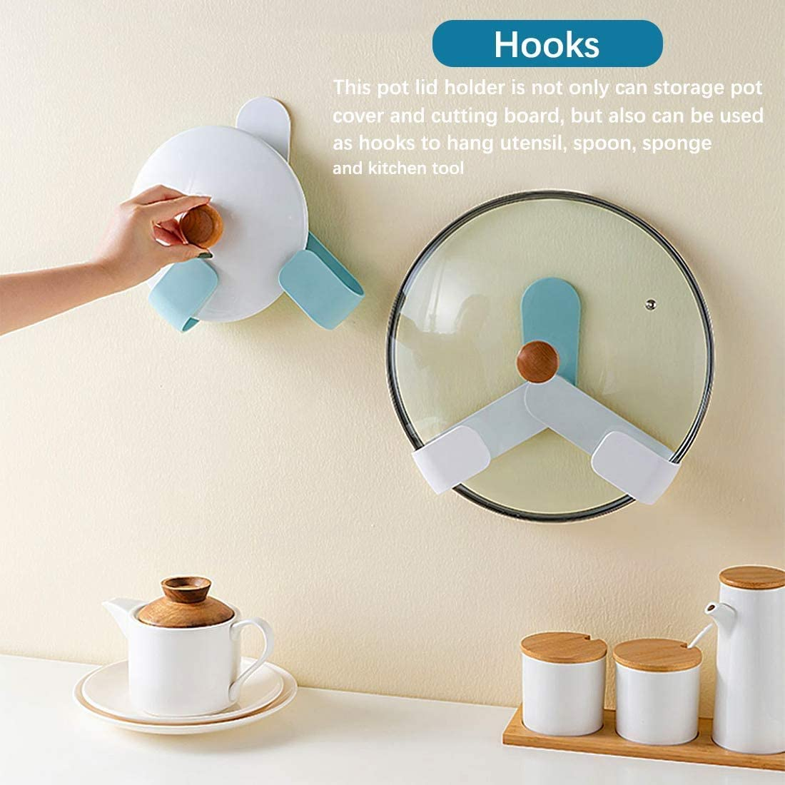 Blue home magic Self Adhesive Rotatable Pon Lid Holder Pot Lid Rack 2 Pack Cutting Board Storage Adjustable Hanging Wall-Mounted Pan Cover Organizer Multi-Functional Kitchen Storage Rack