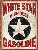 ホワイトスターガソリン 金属板ブリキ看板警告サイン注意サイン表示パネル情報サイン金属安全サイン