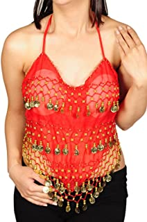 Pearl`s Belly Dance Costume Coin Bra Halter Top with Silver or Gold Coins - 7 Colors