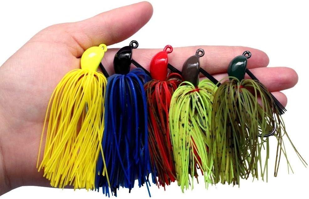 19g Bass Fishing Jigs Colore Misto Gomma Gonna Lure Swim Buzz Metallo Piombo Jig Heads VMC Hooks Gonna Pesca Jig Esche L-MEIQUN Colore : Verde