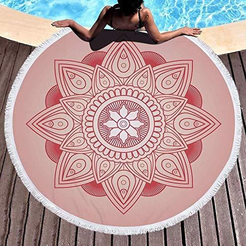 WHSS Toallas de baño Manta De Toalla De Playa Redonda Mandala De Verano, Tiro De Playa Tapiz Hippie Tela De Mesa Meditación Yoga Estera De Picnic Baño De Viaje Microfibra Chal Roundie Protector Solar