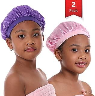 Kids Satin Bonnet Sleeping Cap for Natural Hair, Toddler Satin Cap for Sleeping Teens Child Baby Silk Bonnet with Elastic Band
