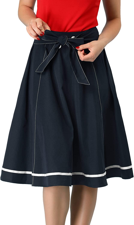 Allegra K Women's Button Decor Tie Waist Knee Length Contrast Trim Skirt