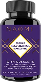 Sponsored Ad - NAOMI Organic Resveratrol Supplement 250mg with Quercetin, Brain Booster Supplement with Active Trans Resve...
