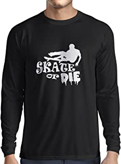 Long Sleeve T Shirt Men Skate or Die - for Professional Skateboarder, Quotes by Pro Skaters, Skating Gear (XXX-Large Black White)