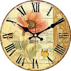 ShuaXin House Decoration Wooden Wall Clocks,Large 16 Inch Wall Clock,Retro Flower Style Bedroom Decorative Roman Numerals Battery Quartz Wall Clock