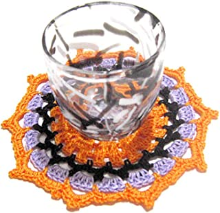 Posavasos redondo naranja para Halloween de ganchillo - Tamaño: ø 11.5 cm - Handmade - ITALY
