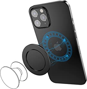 SUPERONE Compatible with iPhone 13/iPhone 12 MagSafe P-Socket Base Removable and Wireless Charging Compatible【Base Only】 Designed for P-Socket, Phone Ring Holder, Black