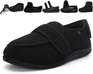 Uomo Donna Regolabile Scarpe Molto Larga Pantofole Caviglia Stivali Anziano Gancio Orientabile Diabetico Swolen Piede Nero