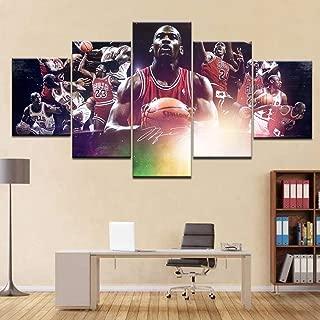 YI KUI Canvas Prints 5 Panel murals Basketball Star Michael Jordan Pictures Prints on Canvas Artwork for Home Decoration Modern, B, 30 × 50 × 2 + 30 × 70 × 2 + 30 × 80 × 1