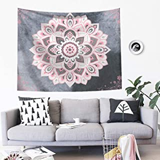 SHINE-CO LIGHTING Bohemia Tapestry Mandala Polyester Tapestries Hippie Wall Hanging Decor for Living Room Bedroom Dorm 51 x 60 Inches (Pink Mandala)