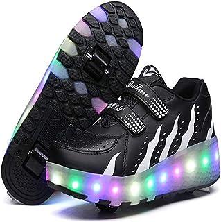 EVLYN LED Light Up Blink Single Wheel Roller Skate Shoes Fashion Sports Flashing Sneaker Boys Girls