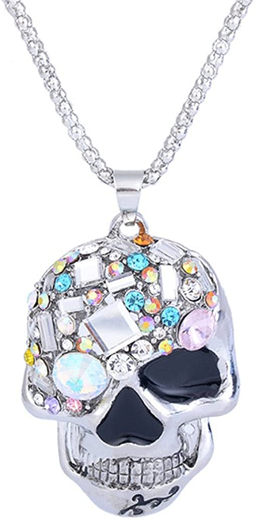 Skull Necklace Vintage Necklace Synthesis Stone Pendant Chain Fashion Costume Jewelry for Women