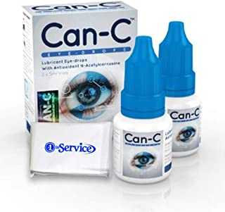 Can-C Eye Drops 5 ml, 2 Count - Eyedrops Natural Ointment Treatment for Animals and Humans Vision Opthalmic Solution - Eye Products - with #1 in Service Wallet Tissues