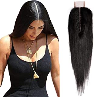 Amberhair 2x6 Deep Part Lace Closure Straight Human Hair Brazilian Virgin Remy Hair Middle Part Closure With Baby Hair Natural Color 14 inches