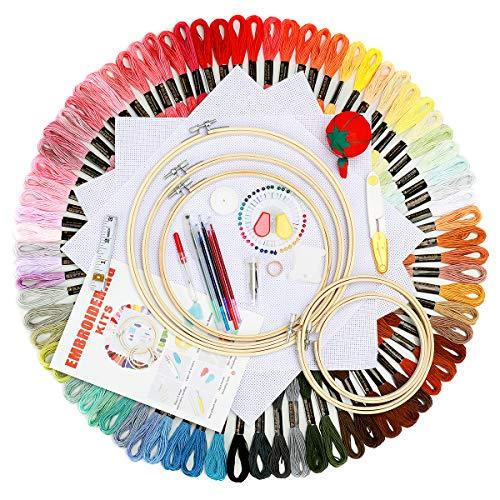 BangShou Stickerei Set mit 100 Farbige Fäden Embroidery Starter Kit Kreuzstich Tool mit 5 Bambusreifen, 3 Aida-Stoff, Nadeleinfädler usw für Kinder, Erwachsene & Anfänger