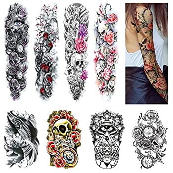 Full Arm Temporary Tattoos Arm Tattoo Sleeves for Women Men Large Realistic Temp Tattoos Paper Black Body Stickers Removable Waterproof Tattoo Leg Forearm Back Thigh Shoulder Tattoo  8 Sheets