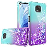 Compatible for Moto G Power 2021 Case with HD Screen Protector for Girls Women, Gritup Cute Gradient Liquid Glitter Bling Protective Soft TPU Phone Case for Motorola Moto G Power 2021 Teal/Purple