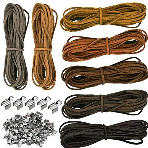 7 Piezas Cuerda de Cuero Gamuza de 2 mm x 5 m, Cordón de Cuero Trenzado con 100 Clips para la Fabricación de Joyas de Collar de Bricolaje - 7 Colores