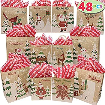 48 pcs Christmas Kraft Gift Bags with Assorted Christmas Prints for Kraft Bags in Different Sizes Christmas Goody Bags Xmas Gift Bags School Classrooms and Party Favors