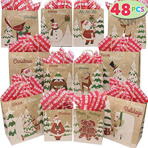 48 pcs. Christmas Kraft Gift Bags with Assorted Christmas Prints for Kraft Bags in Different Sizes, Christmas Goody Bags, Xmas Gift Bags, School Classrooms, and Party Favors