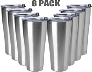 COMOOO 32oz/8 Pack Double Wall Vacuum Insulated Travel Mug, Stainless Steel Tumbler with Lid, Durable Powder Coated Insulated Coffee Cup for Cold & Hot Drinks (Silver, 32oz-8 Pack)