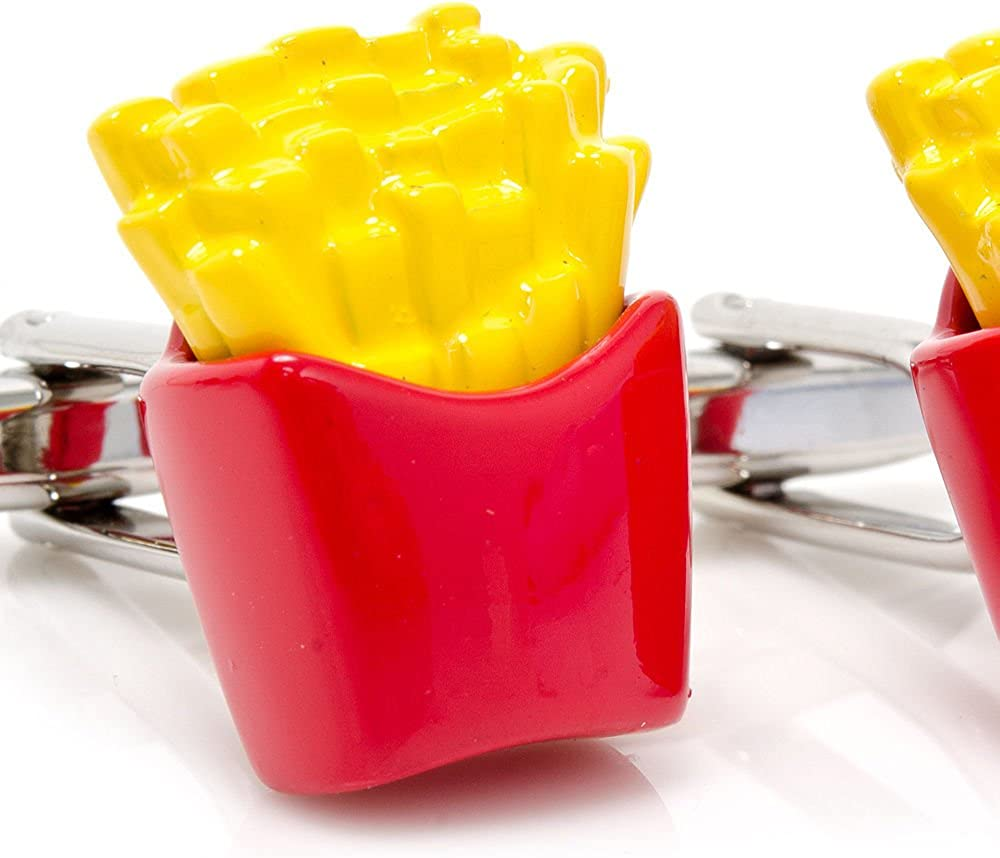 Men's Executive Deep Fried Salty and Crisp Fast Food Lover French Fries Cufflinks Cuff Links