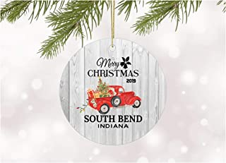 Christmas Ornaments 2019 Christmas Tree South Bend Indiana Xmas Decorations Gift Idea Rustic Holiday Tree Ceramic Unique Home Sweet Home State Decoration Anniversary 3