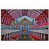 Estación de Tren de Bélgica Rompecabezas de 1000 Piezas para Adultos y familias, Regalo de Viaje de Madera, Recuerdo de 30 x 20 Pulgadas