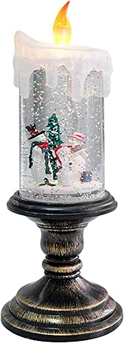 high quality Eldnacele wholesale Christmas Snow Globe Candle Battery Operated Lighted Flameless Candles Light Swirling Water Glittering Spinning Candles for 2021 Home Decoration(Snowmen Family) outlet sale